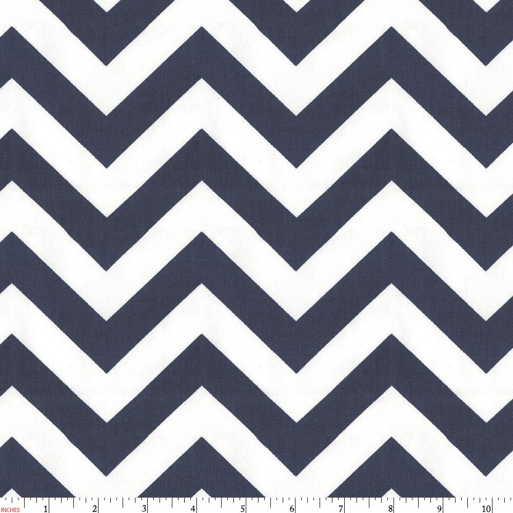 Product image for White and Navy Zig Zag Fabric