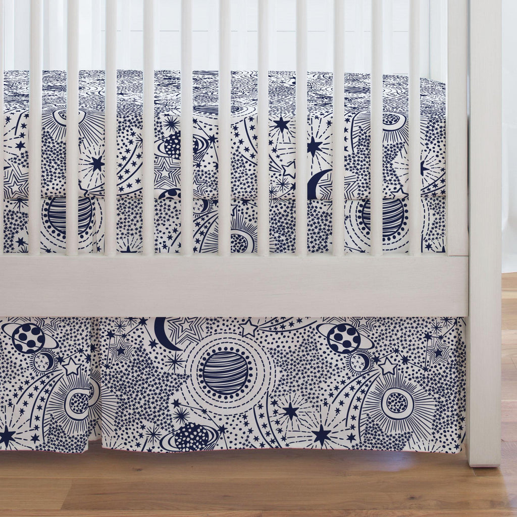 Product image for Navy Galaxy Crib Skirt Single-Pleat