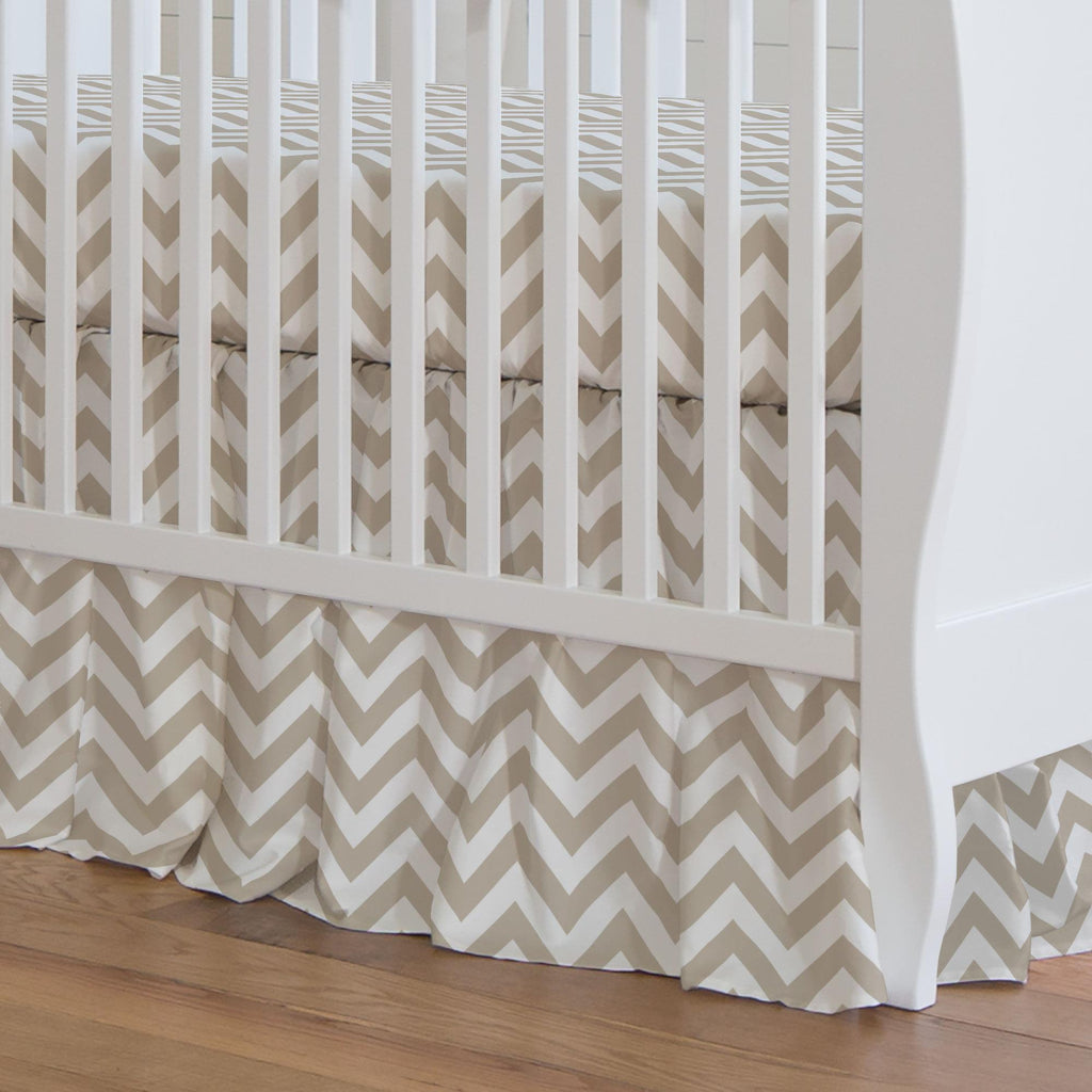 Product image for Taupe Zig Zag Crib Skirt Gathered