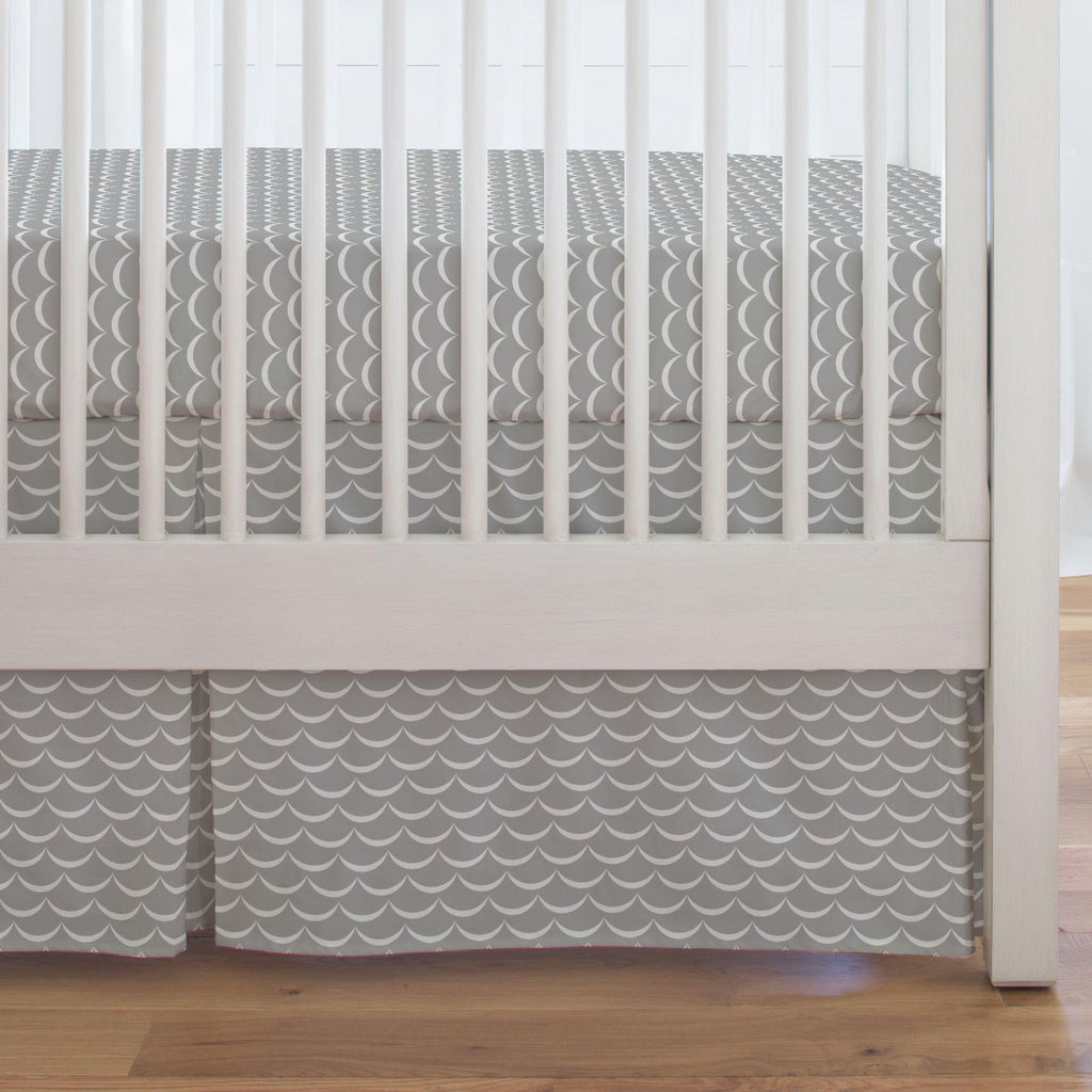 Product image for Silver Gray Waves Crib Skirt Single-Pleat