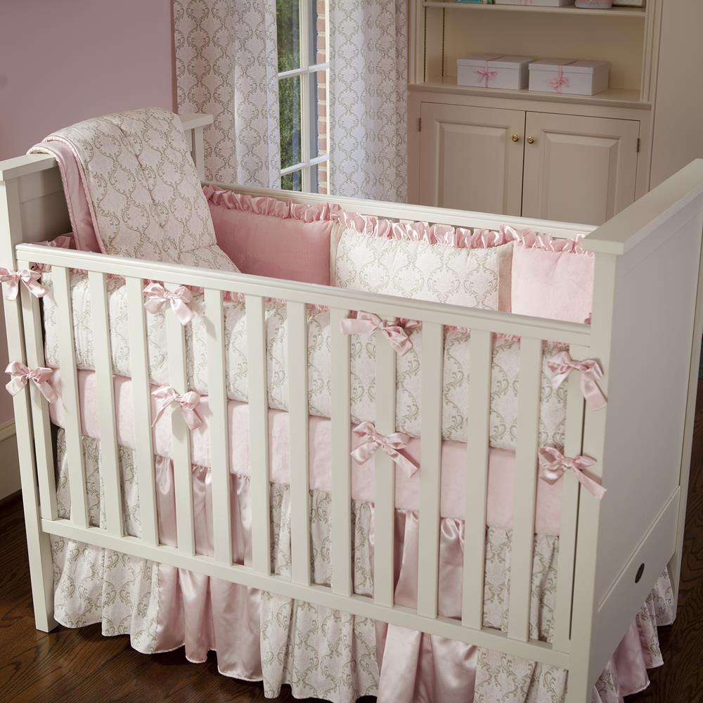 Product image for Pink and Taupe Damask Crib Skirt
