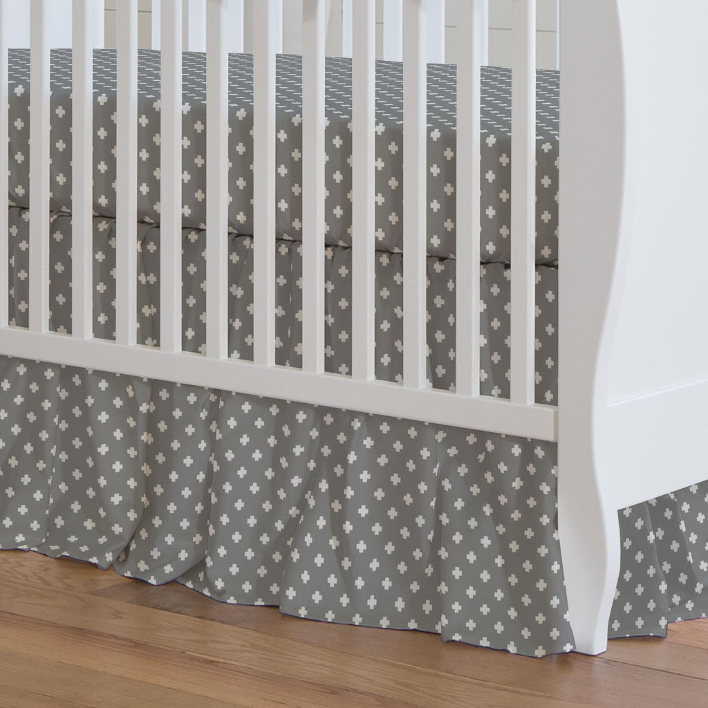Product image for Gray Mini Swiss Cross Crib Skirt Gathered