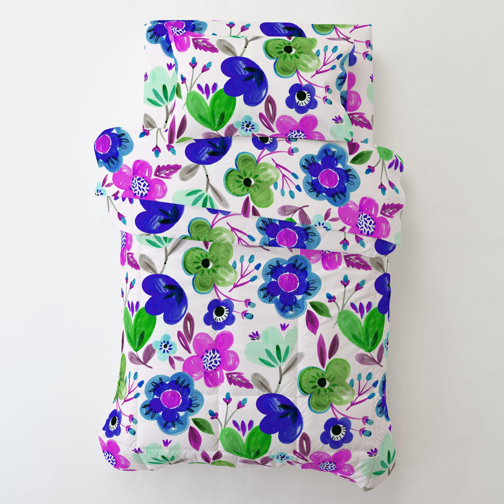 Product image for Purple Painted Flowers Toddler Comforter
