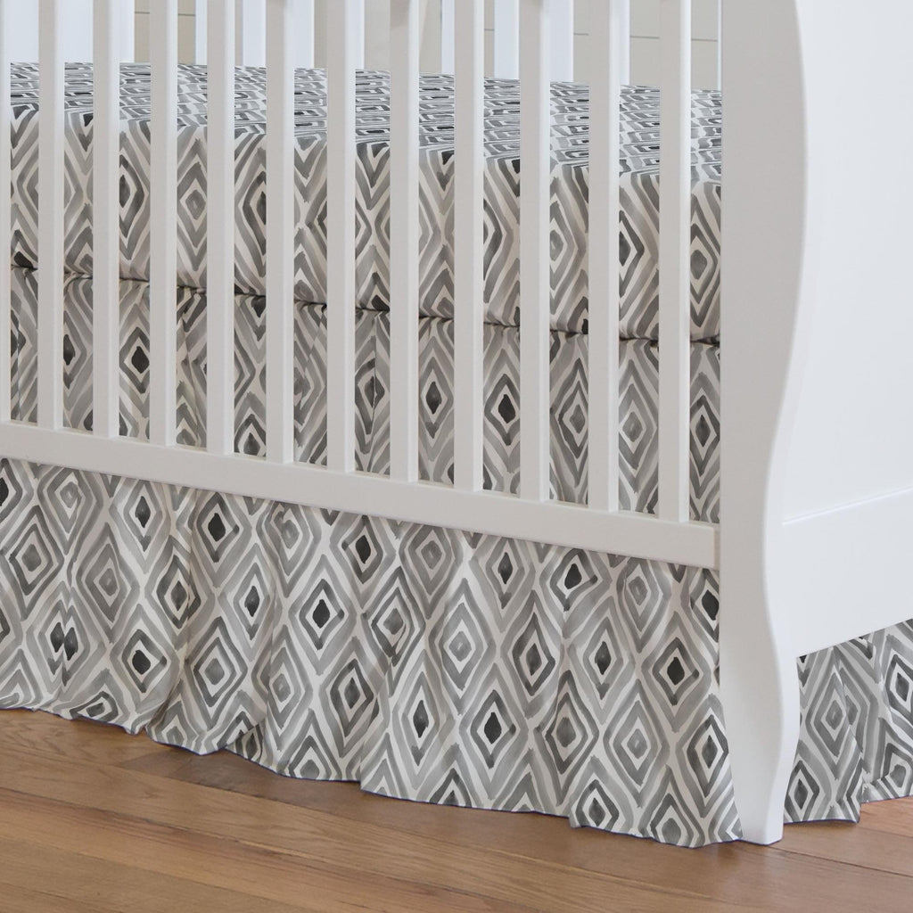 Product image for Gray Painted Diamond Crib Skirt Gathered
