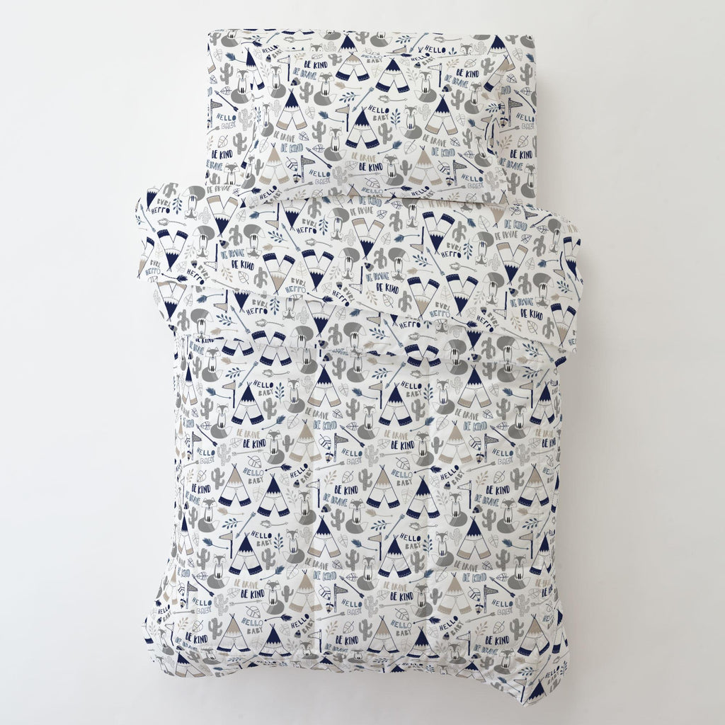 Product image for Navy Brave Fox Toddler Pillow Case with Pillow Insert