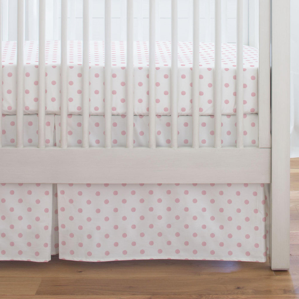 Product image for White and Pink Polka Dot Crib Skirt Single-Pleat