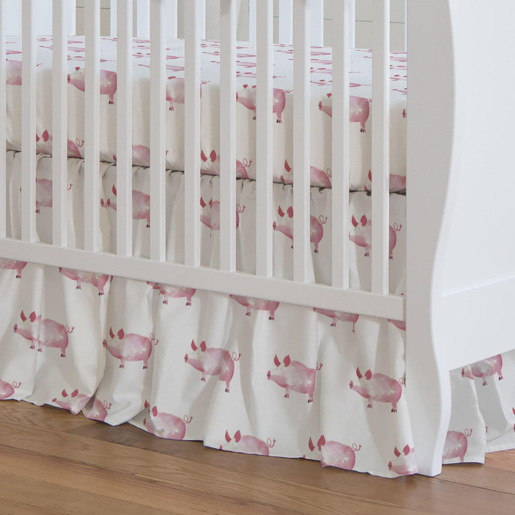 Product image for Pink Painted Pigs Crib Skirt Gathered