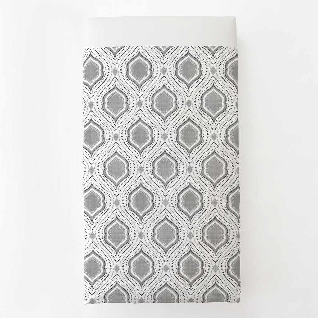 Product image for Gray Moroccan Damask Toddler Sheet Top Flat