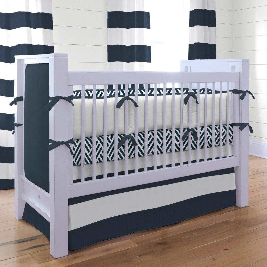 Product image for Navy Horizontal Stripe Crib Skirt