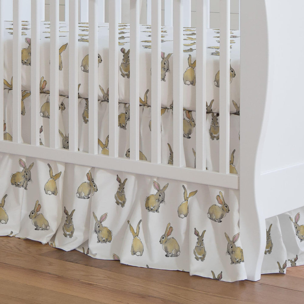 Product image for Watercolor Rabbits Crib Skirt Gathered