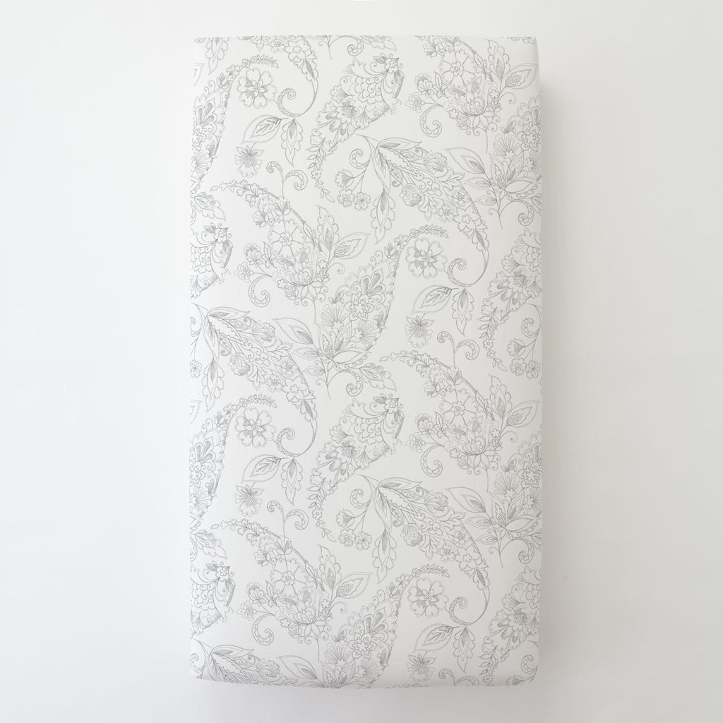 Product image for Cloud Gray Sketchbook Floral Toddler Sheet Bottom Fitted