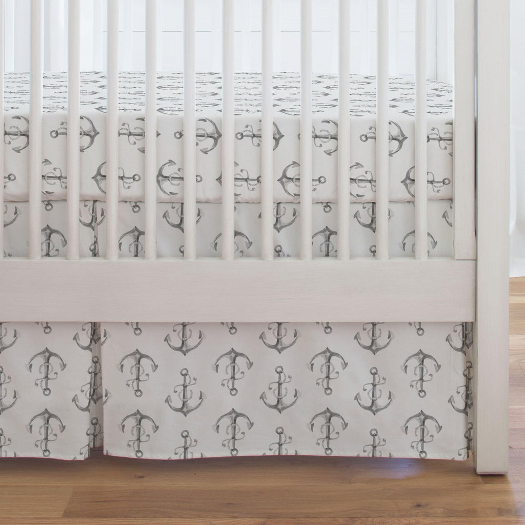 Product image for Gray Watercolor Anchors Crib Skirt Single-Pleat