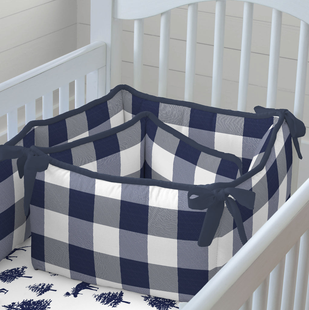 Product image for Navy and White Buffalo Check Crib Bumper