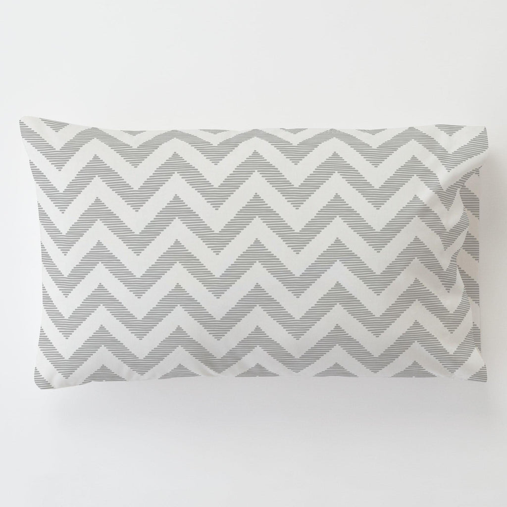 Product image for White and Silver Gray Chevron Toddler Pillow Case