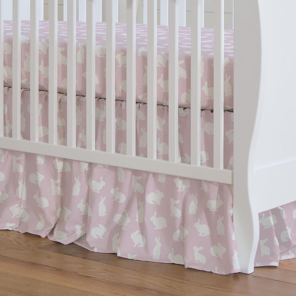 Product image for Pink and White Bunnies Crib Skirt Gathered