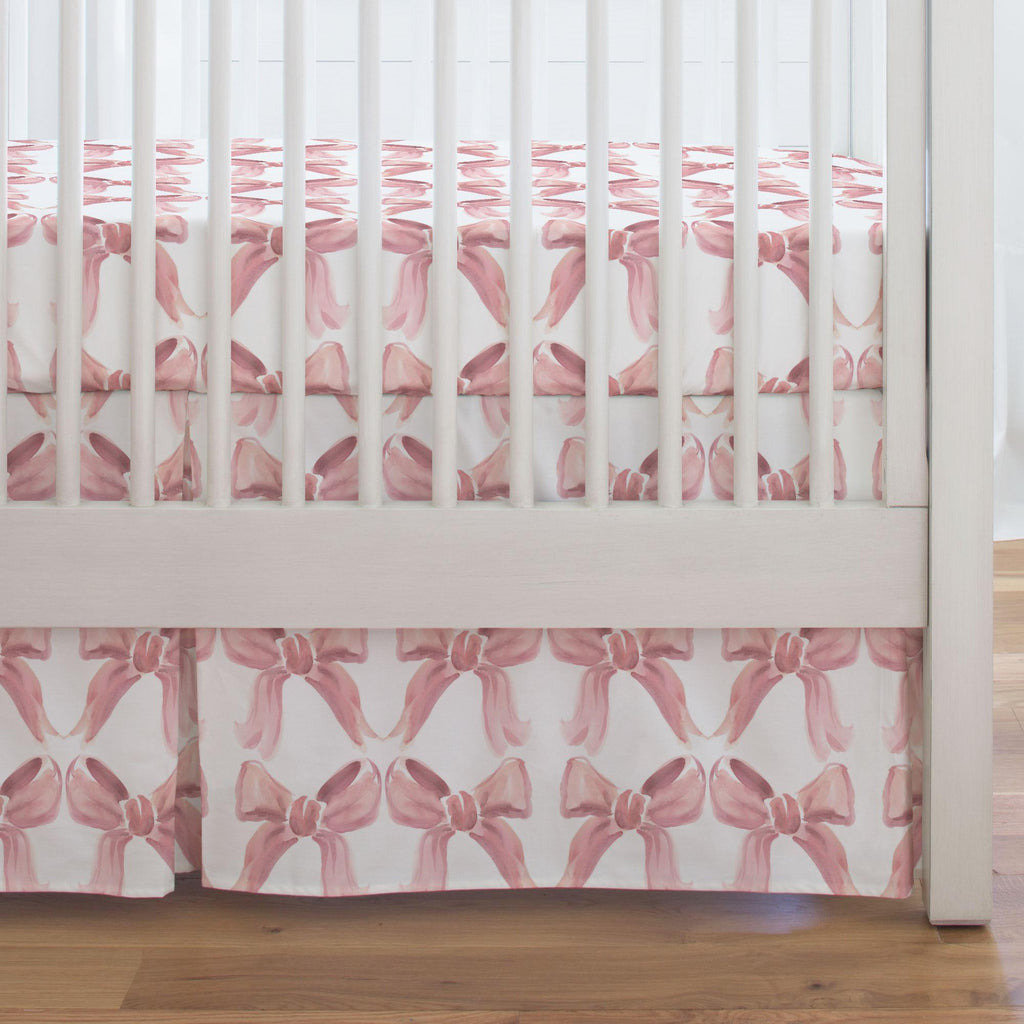 Product image for Pink Watercolor Bows Crib Skirt Single-Pleat