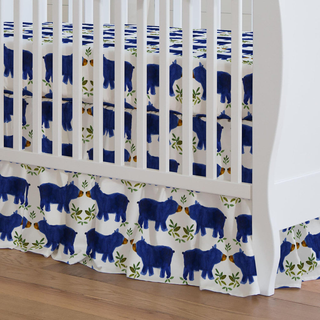 Product image for Blue Woodland Bear Crib Skirt Gathered