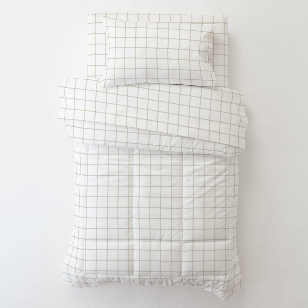 Product image for Taupe Windowpane Toddler Pillow Case with Pillow Insert