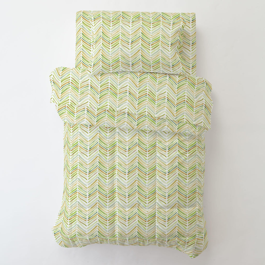 Product image for Green Painted Chevron Toddler Pillow Case with Pillow Insert
