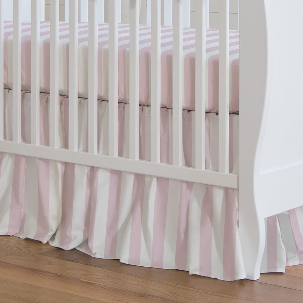 Product image for Pink Stripe Crib Skirt Gathered