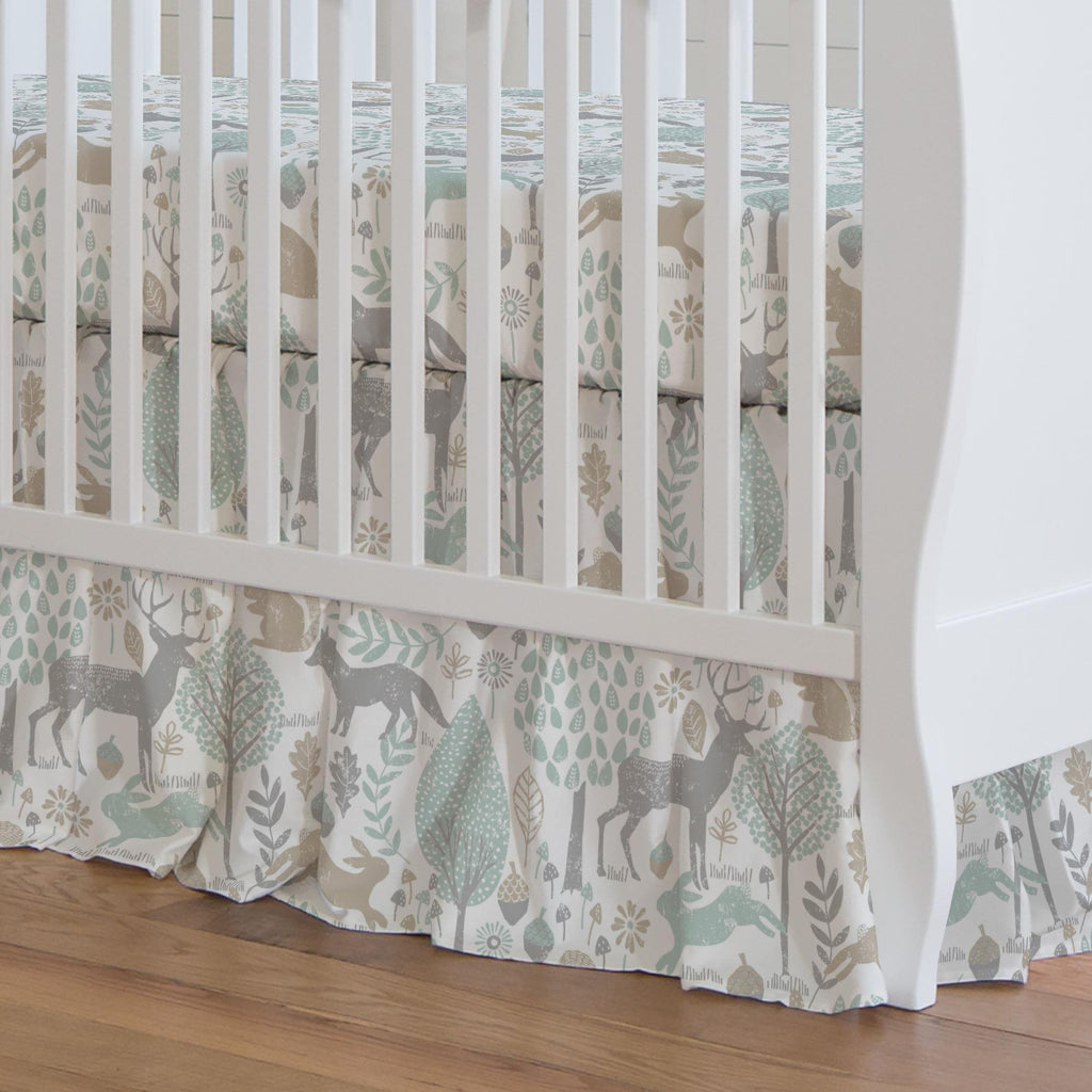 Product image for Gray and Taupe Woodland Animals Crib Skirt Gathered