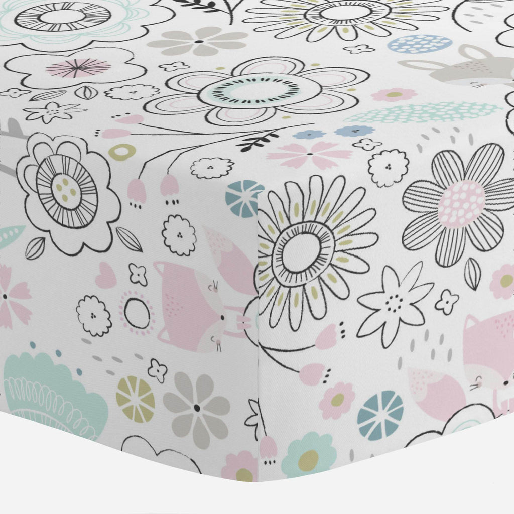 Product image for Pink Spring Doodles Mini Crib Sheet