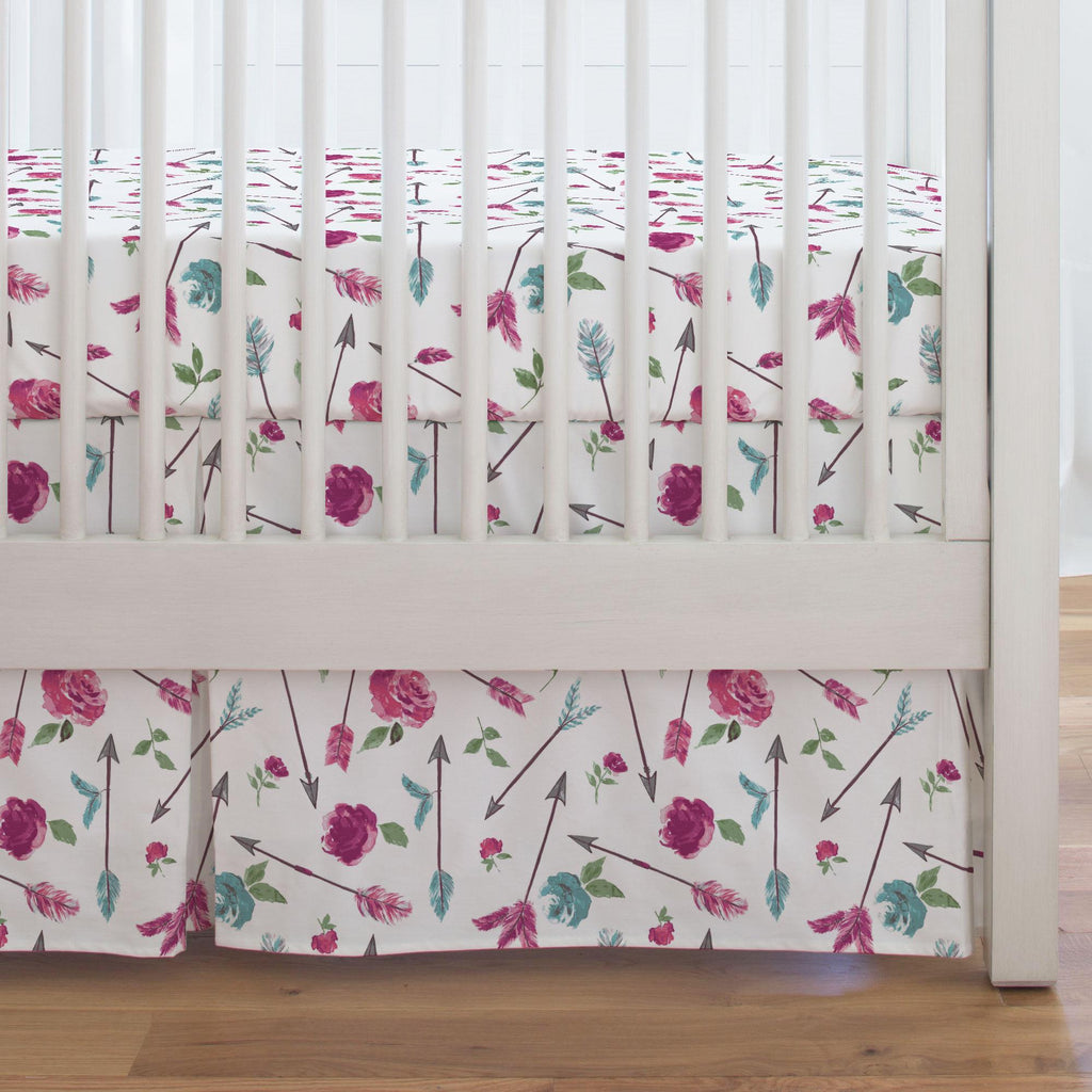 Product image for Floral Arrow Crib Skirt Single-Pleat