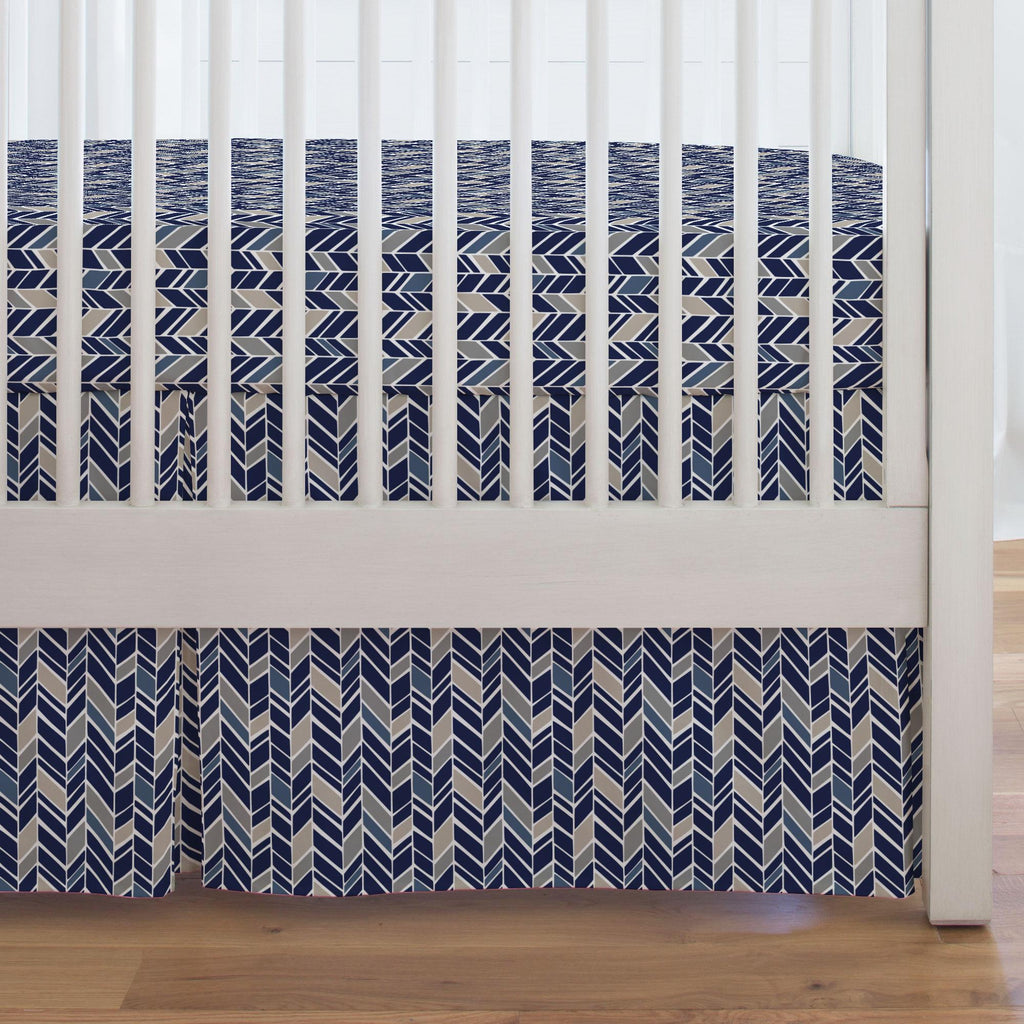 Product image for Taupe and Windsor Navy Herringbone Crib Skirt Single-Pleat