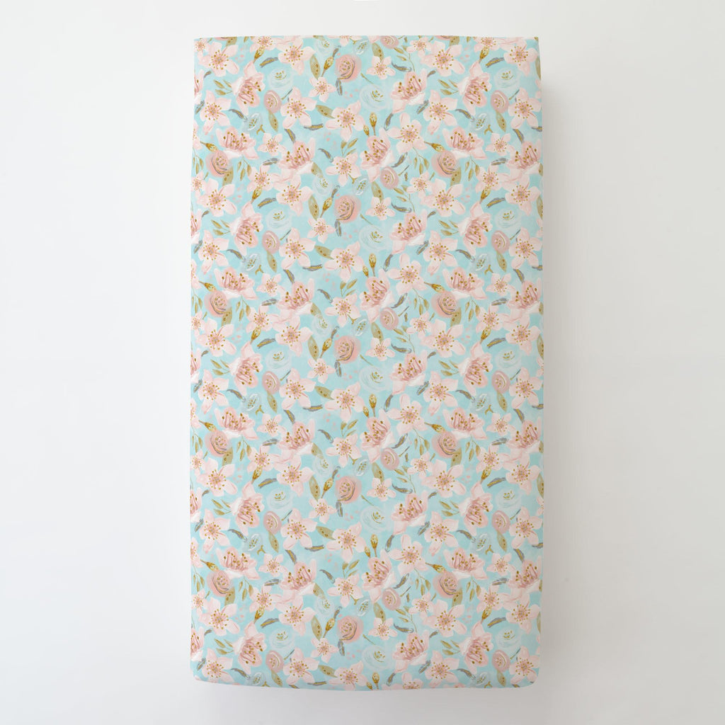Product image for Aqua and Pink Hawaiian Floral Toddler Sheet Bottom Fitted