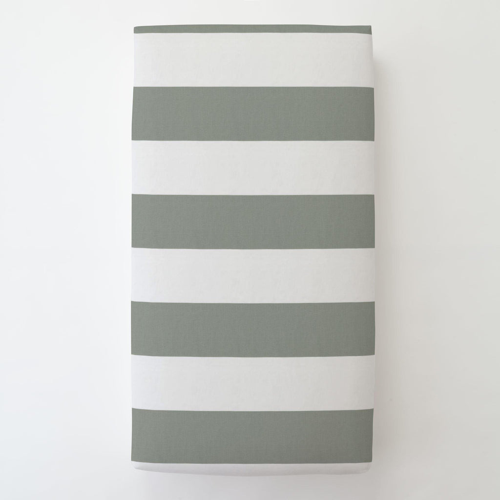 Product image for Cloud Gray Horizontal Stripe Toddler Sheet Bottom Fitted