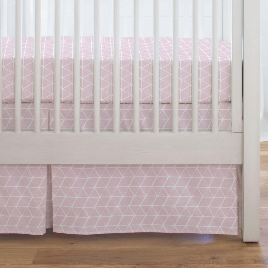 Product image for Pink Aztec Triangles Crib Skirt Single-Pleat