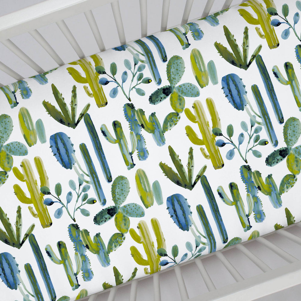 Product image for Blue Painted Cactus Crib Sheet