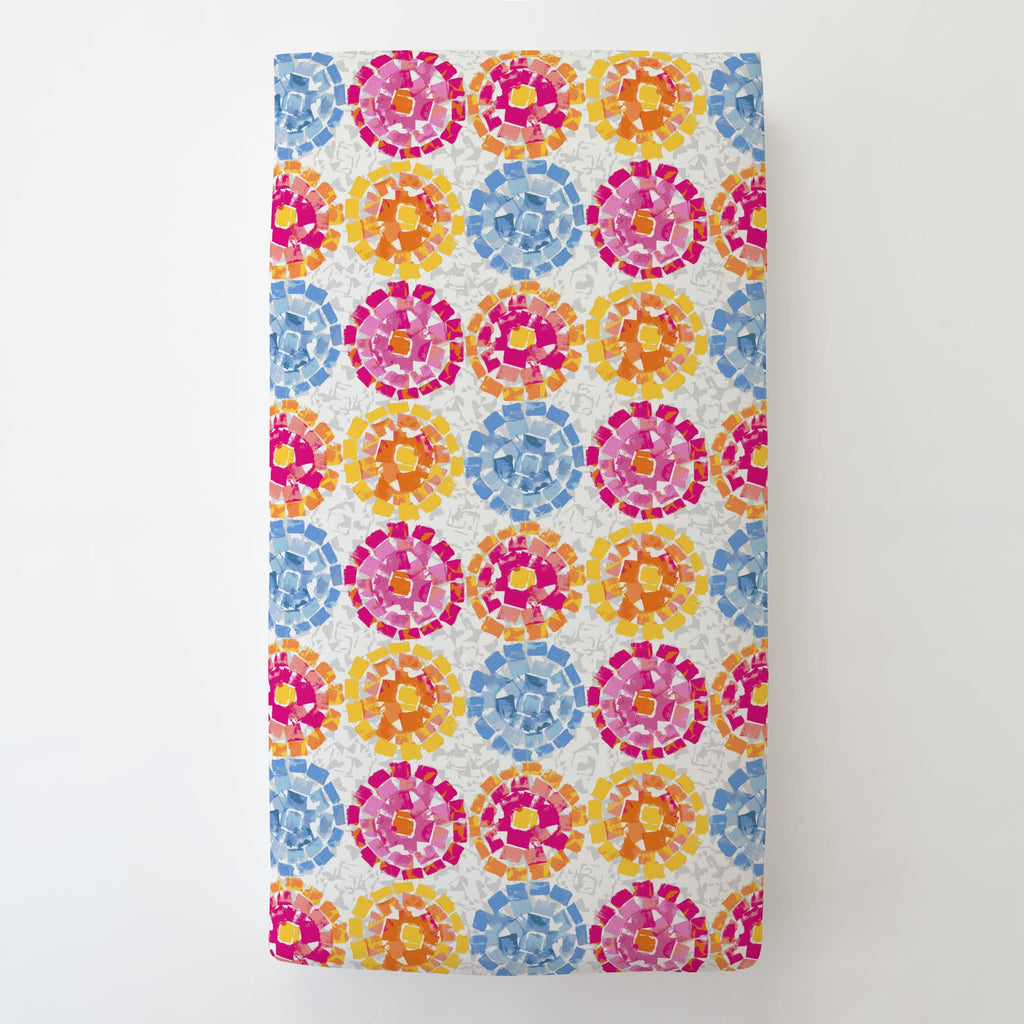 Product image for Pink and Blue Modern Mosaic Toddler Sheet Bottom Fitted
