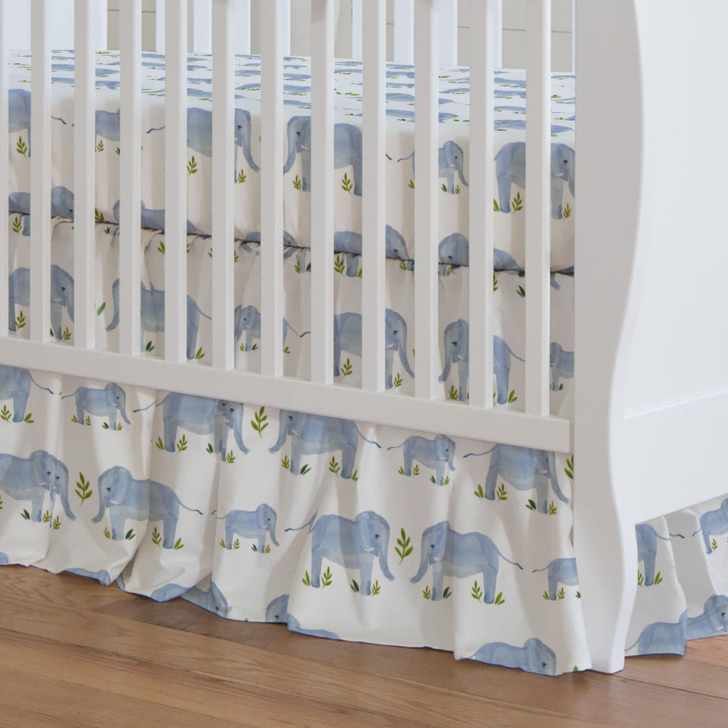 Product image for Painted Elephants Crib Skirt Gathered