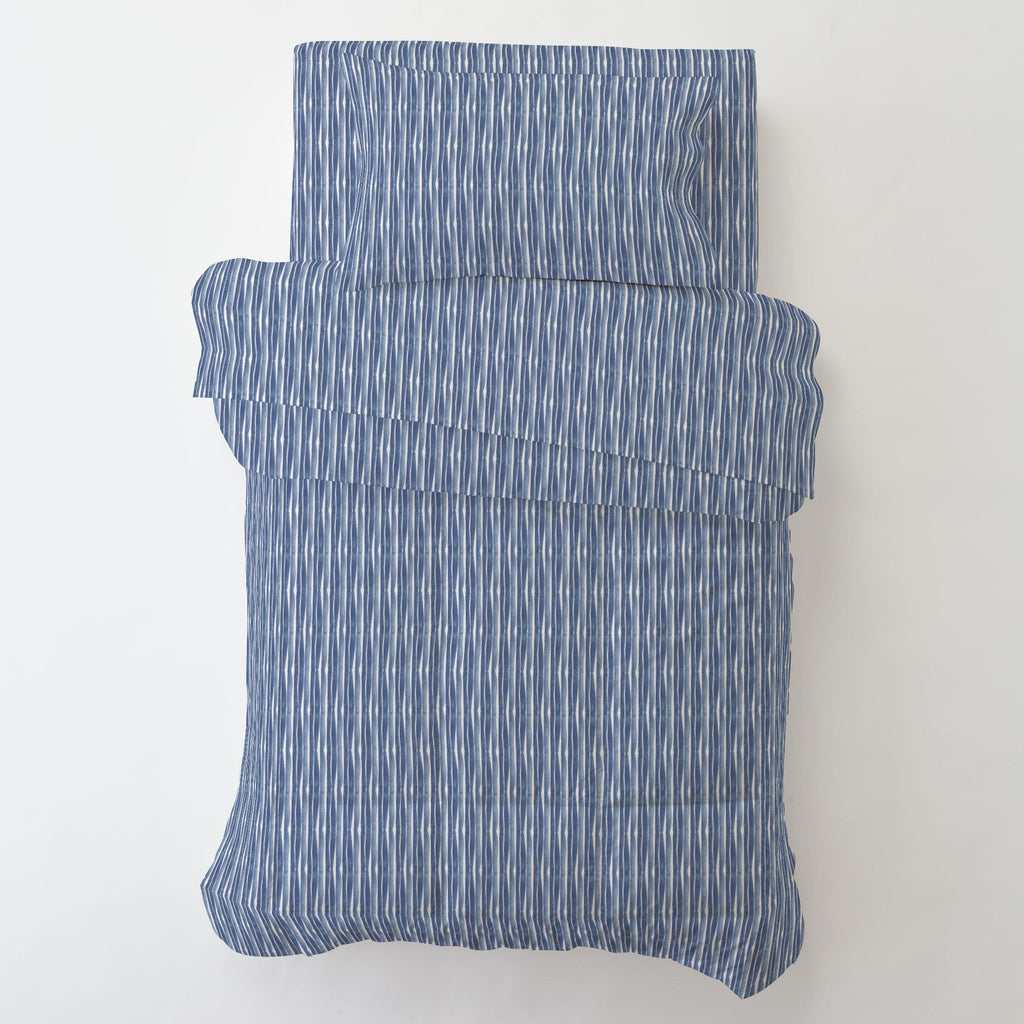 Product image for Blue Ocean Stripe Toddler Pillow Case with Pillow Insert