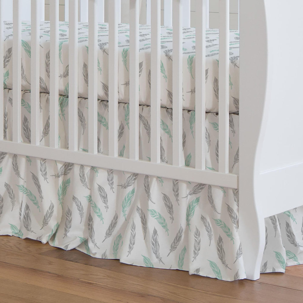 Product image for Mint and Silver Gray Hand Drawn Feathers Crib Skirt Gathered