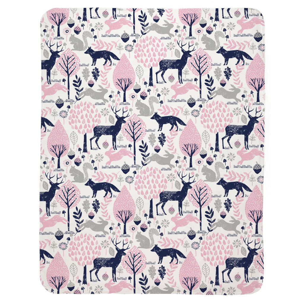 Product image for Bubblegum Pink and Navy Woodland Animals Baby Blanket
