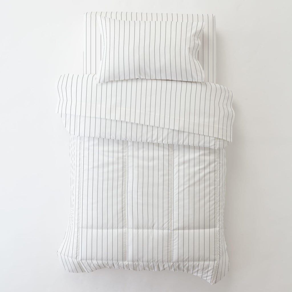 Product image for Cloud Gray Pinstripe Toddler Pillow Case with Pillow Insert