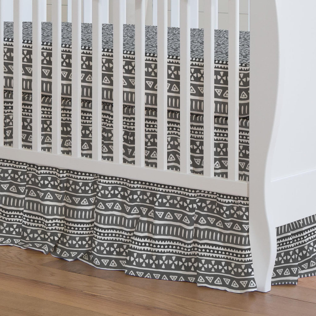 Product image for Gray Watercolor Tribal Crib Skirt Gathered
