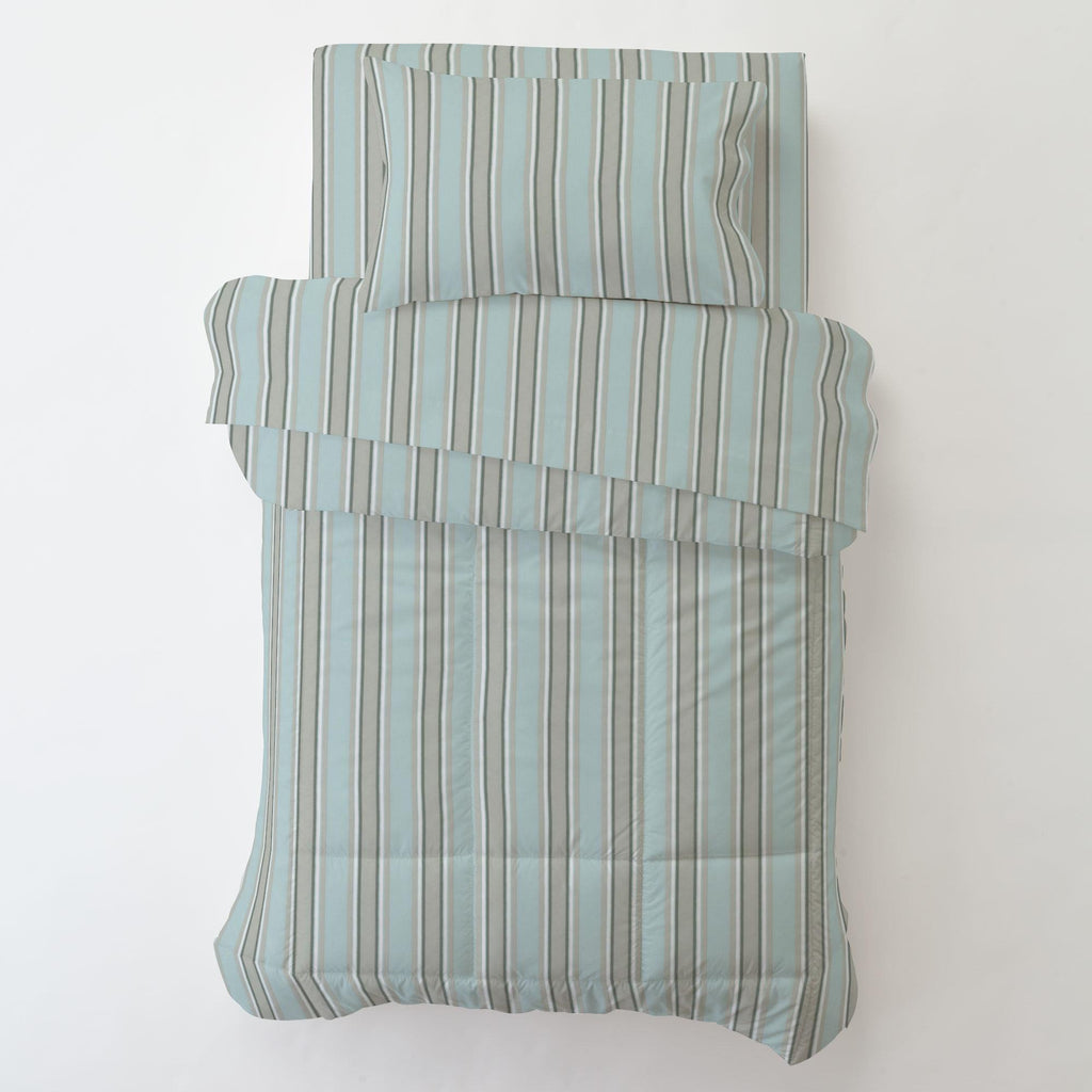 Product image for Mist and Gray Stripe Toddler Pillow Case with Pillow Insert