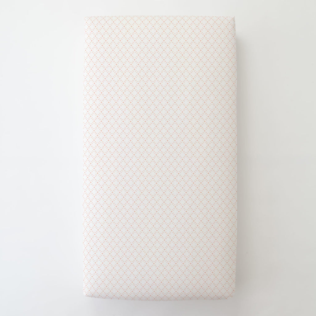 Product image for Peach Lattice Dots Toddler Sheet Bottom Fitted