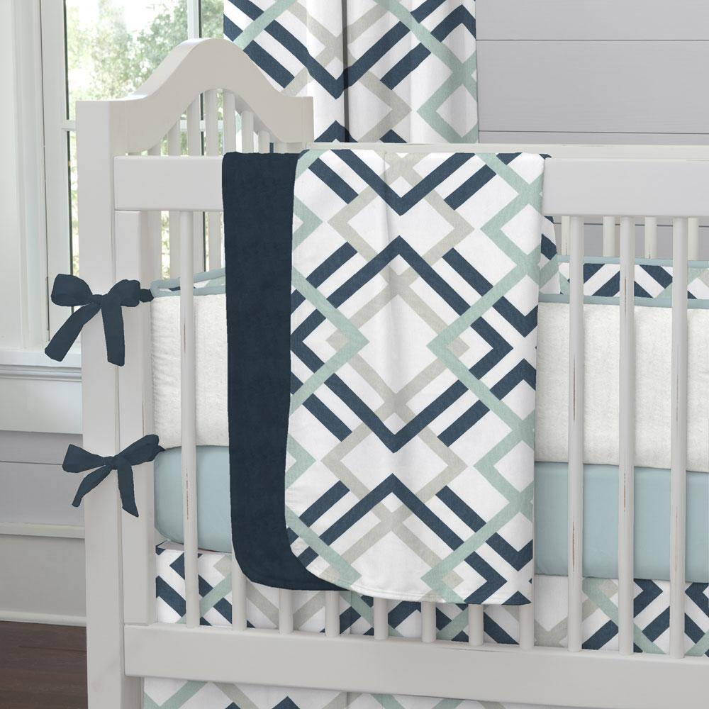 Product image for Navy and Gray Geometric Baby Blanket
