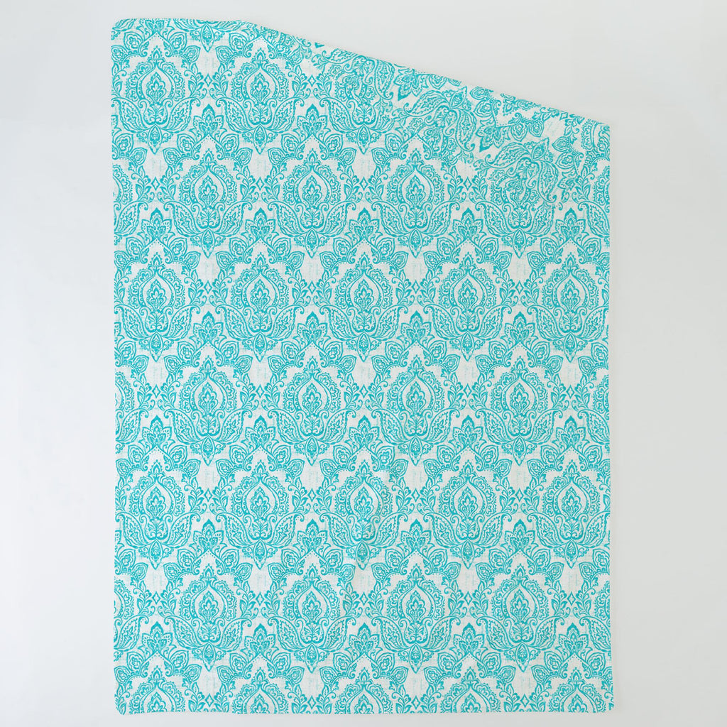 Product image for White and Teal Vintage Damask Duvet Cover