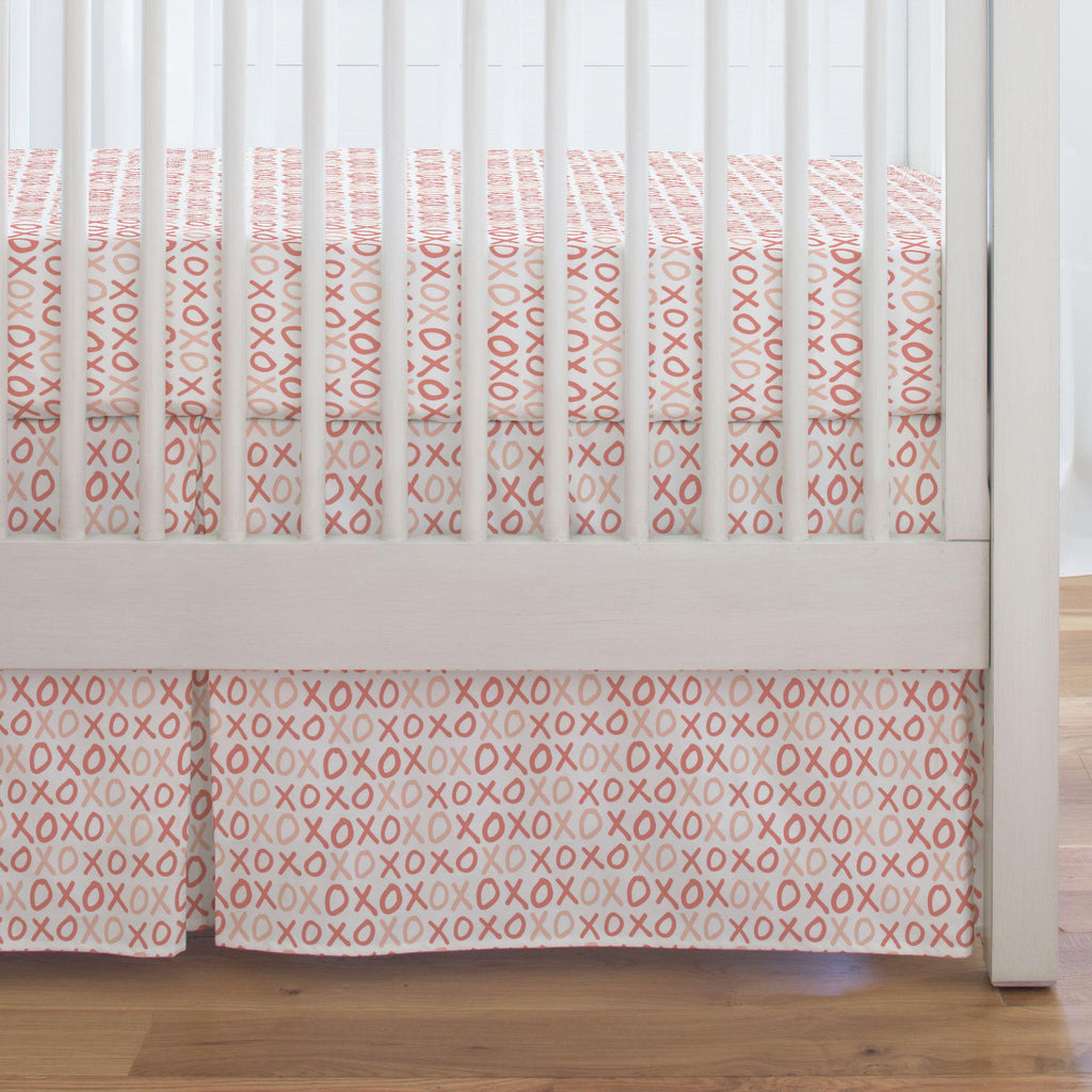 Product image for Light Coral and Peach XO Crib Skirt Single-Pleat