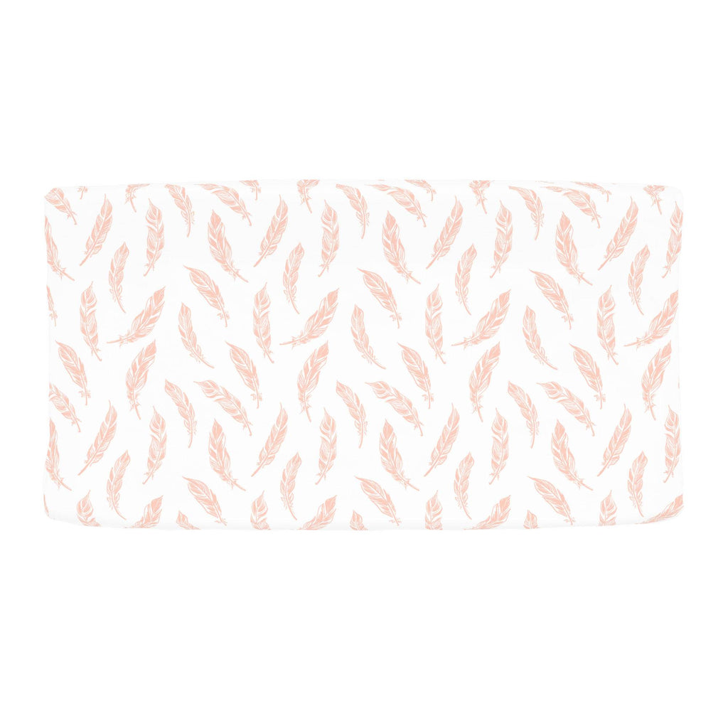 Product image for Peach Hand Drawn Feathers Changing Pad Cover