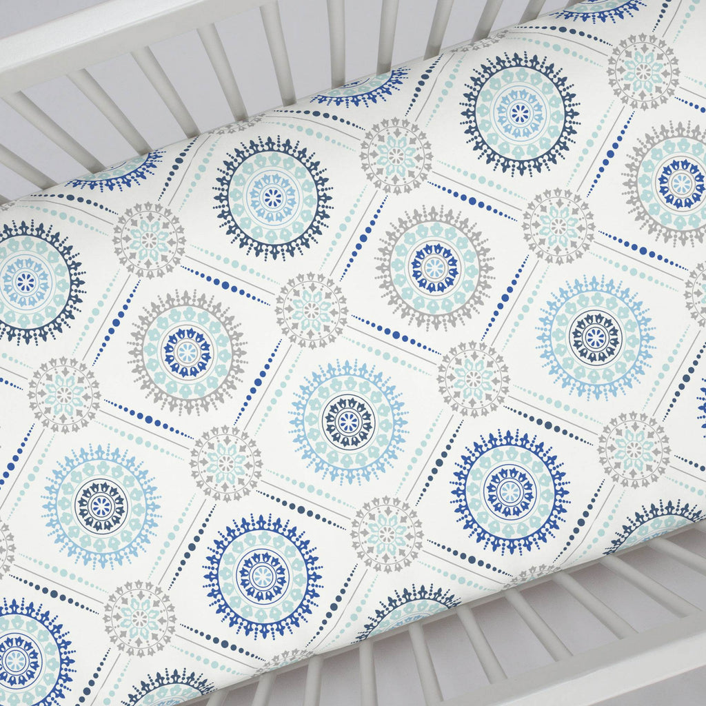 Product image for Denim and Silver Gray Modern Medallion Crib Sheet