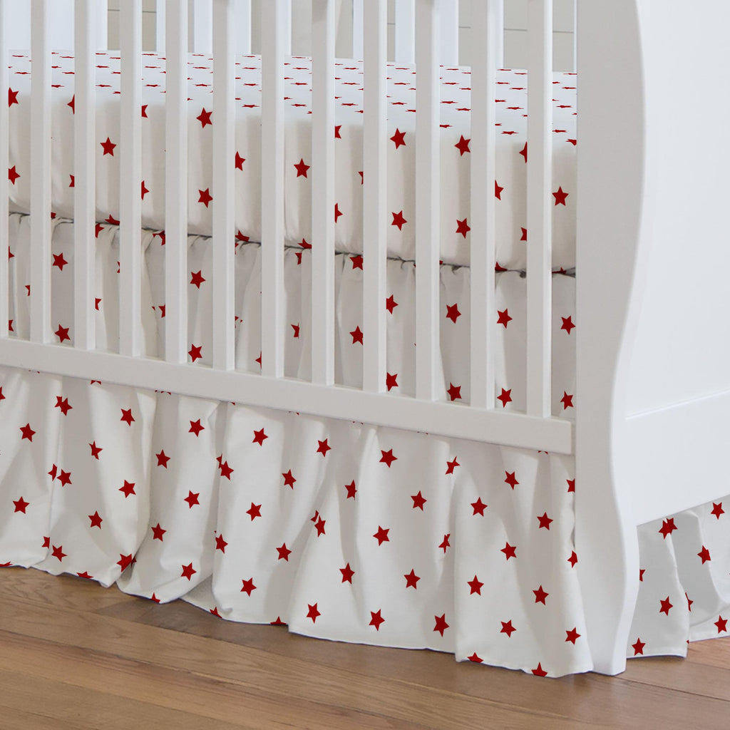 Product image for Red Stars Crib Skirt Gathered