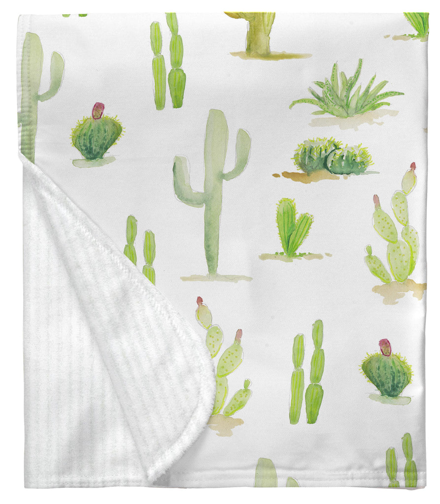 Product image for Watercolor Cactus Baby Blanket
