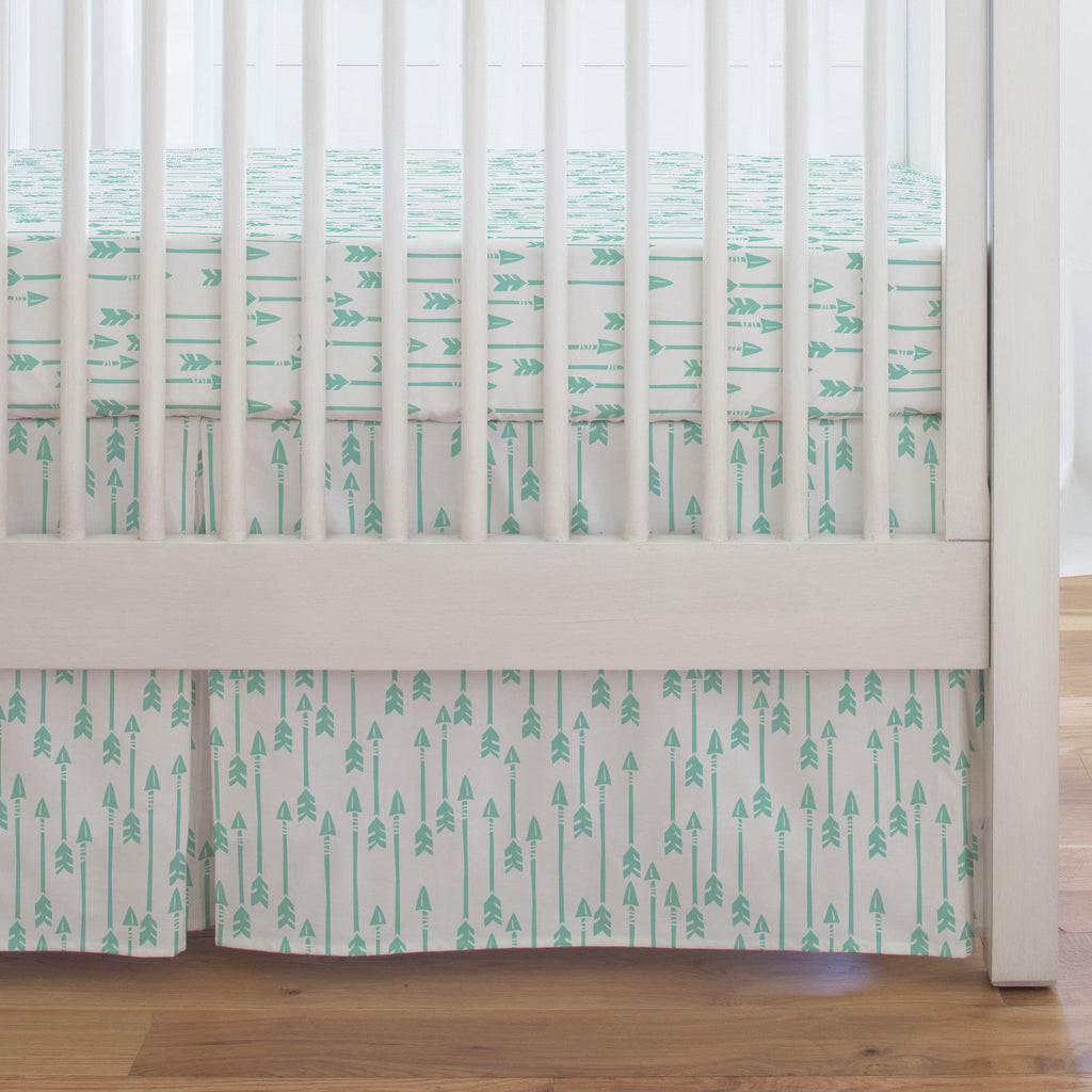 Product image for Mint Flying Arrow Crib Skirt Single-Pleat