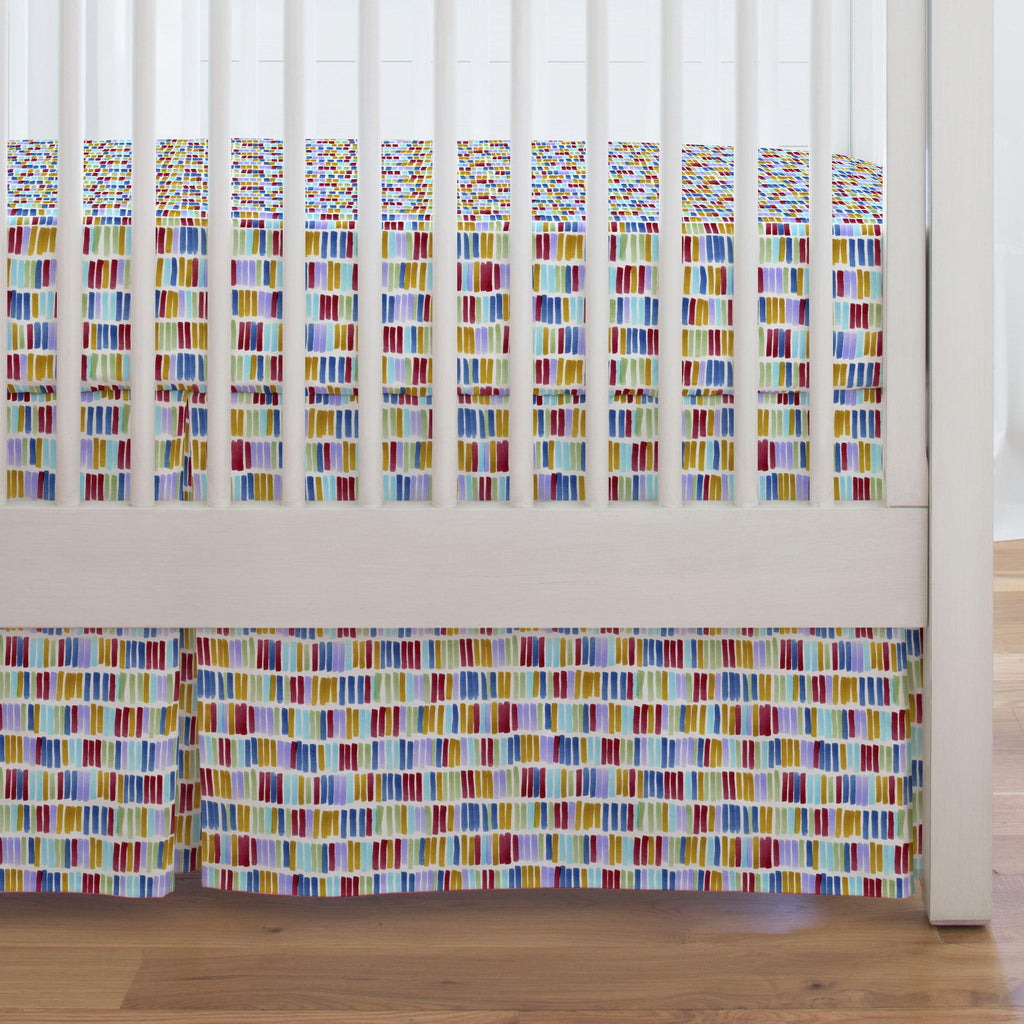 Product image for Colorful Bars Crib Skirt Single-Pleat